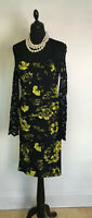 Phase Eight Gorgeous UK 10 Black Floral Sheer Lace Top/ Sleeves Pencil Dress