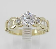 14K Yellow Gold Engagement Ring Round Cut Diamond Bridal Jewelry Size 6.75