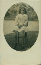 Young Girl Seated Chair Garden  Vintage RP PC AK.1292