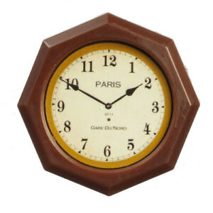 Miniature Dollhouse Octagon Wall Clock Paris 1:12 Scale New