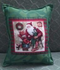 Country Cottage Victorian Old Time Santa & Toys Green & Plaid Christmas Pillow