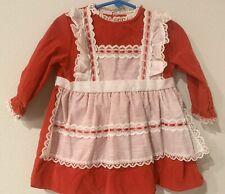 Vtg Girls Red White Swiss Dot Pinafore Dress Valentines 12 18 24 Mo Velvet