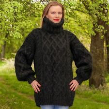 Black Hand knitted Mohair Sweater Fuzzy Aran Handgestrickte Pullover SUPERTANYA