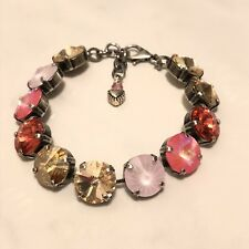 12mm Atq Silver Cup Chain New Swarovski Crystal Elements Pinks & Coral Bracelet