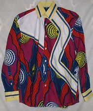 ROOMY African Men's Dress Shirt Dashiki Tribal Collared Wax-print Large XL 16 33