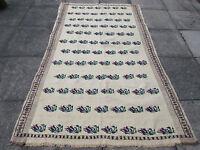 Old Traditional Hand Made Turkish European Cream Wool Cotton Kilim Rug 235x153cm