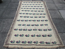Old Traditional Hand Made Turkish European Cream Wool Cotton Kilim Rug 235x153cm