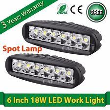 2x 6'' 18W Cree LED Spot Work Light Bar Offroad Truck 4WD Fog Driving Boat Lamp