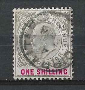 GIBRALTAR KEVII 1903 1/- Black Carmine SG51, Used