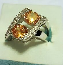amber twist CZ 925 stamped silver plated dress ring
