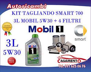 KIT TAGLIANDO 3L MOBIL 5W30 + FILTRI SMART CITY COUPE FORTWO 700 01/03 - 03/07