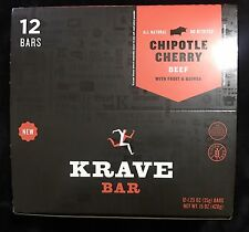 Krave Bar, NEW Beef Jerky, Chipotle Cherry Beef Fruit & Quinoa 12 - 1.25 OZ BARS