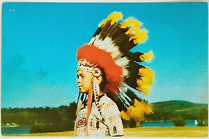 Camp Pius Eleventh Catholic Boy Indian Headdress Bright Sky Enfield NH Postcard