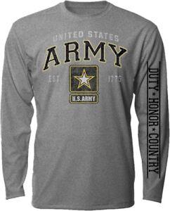 Military US ARMY EST 1775 Graphite Gray Long Sleeve Men's T Shirt