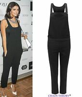 Womens Celebrity Dungaree Pinafore Tailored Jumpsuit Ladies Trousers Pants 8-14