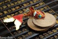 Articulated Cloisonne Enamel CHINESE Gold Fish Figurine key chain Ornament Gift
