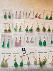 Joblot of 20 Pairs real jade dangly Earrings mixed sizes  - NEW wholesale  B