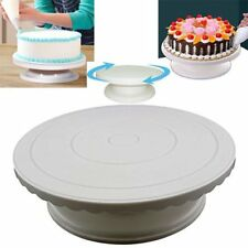 White Rotating Cake Turntable Dessert Decorating Display Baking Platter Stand