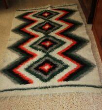 Vintage Ukraine Rug Lizhnyk Bed Blanket Carpathian Hutsel Long Hair Wool Geometr
