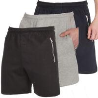 Mens Zip Pocket Gym Fleece Jogger Shorts Lounge Elasticated Waist Big Plus Size