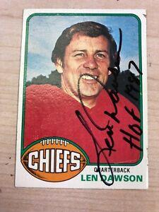LEN DAWSON 1976 TOPPS #308 AUTOGRAPHED CARD CHIEFS