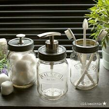 Kilner Mason Jar Stile Vintage Set Accessori Bagno Con Coperchi Grigio & Nickel