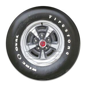 1970's Pontiac Firestone Tire and Wheel Design Reproduction Circle Aluminum Sign