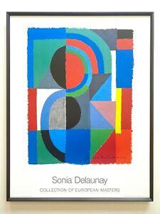 "SONIA DELAUNAY RARE 1989 LITHOGRAPH PRINT FRAMED MODERNIST POSTER ""VIERTEL"" 1968"