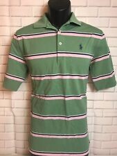 Men's RALPH LAUREN Small POLO GOLF PIMA COTTON SHORT SLEEVE SHIRT STRIPES Green