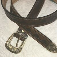 """Brown Stamped Western Tooled Leather Belt Womens 33-35"""" Brass Engraved Buckle"""