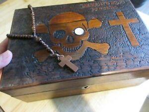 ANTIQUE VICTORIAN ENGLISH MEMENTO MORI CARVED WOODEN JEWELLERY WRITING BOX OLD