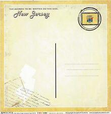 Sc - New Jersey Postcard Scrapbooking Paper - 1 sheet - Vintage 36198