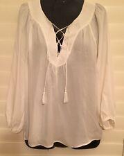 "$288 Joie Long Sleeve Lace Up Flowy 100% Silk ""PACAYA"" Blouse Top Sz S (649)"