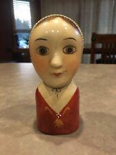 "Vintage Primitive Lady Head Vase Folk Art Peasant Ceramic Hand Painted Girl 6"""