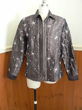 MARK SHAW LADIES SIZE 16 LIGHT WEIGHT BROWN PINK FLORAL EMBROIDERED JACKET ZIP