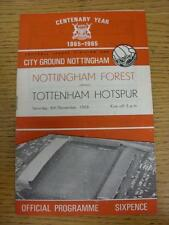 06/11/1965 Nottingham Forest v Tottenham Hotspur  (Folded, Writing Inside). This