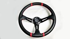 13.5 Steering Wheel Polaris RZR Can-Am Maverick Deep Black Carbon Red Stripes