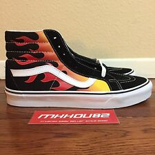 New Vans Sk8-Hi Reissue Flame Pack Fire Black Red Vault Shoes Size 10