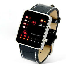 Women Mens Watch Digital Red LED Sport Wrist Watch Leather Band Wrist Watch Gift