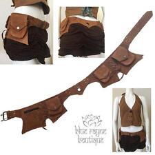 Brown Suede Leather Utility 5 Pocket Hip Pouch Music Festival Pod Belt Bag #2-2