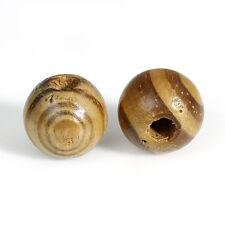 10 Perle en Bois 12mm Strié Marron Rayé Creation Bijoux, Collier, Attache Tetine