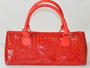 NWOT Primeware Insulated Wine Bottle Clutch Bag Cooler Red Purse Croc Embossed