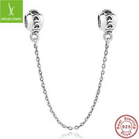 European 925 Sterling Silver Love Safety Chain With Love Heart Women Fine Chain