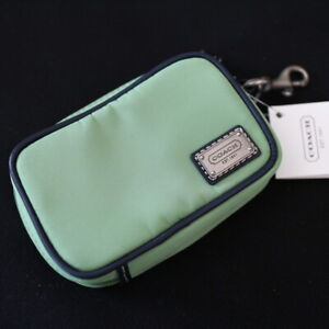 NWT COACH Men Green Nylon Travel Convinience Universal Coin Pouch Case NEW