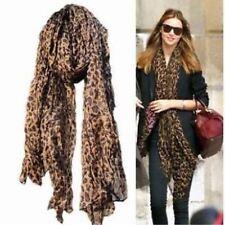 ladies' fashion large dark brown animal leopard print crinkle scarf shawl