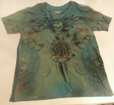 Remetee City Of Angel Affliction Size XLarge Skull Metal Rock Band Green / Blue