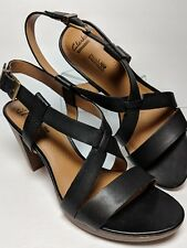 b907b918658a Clarks Platform Block Heel Sandal Soft Cusion Open Toe Black Leather Shoes  8.5