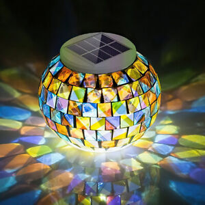 Solar Power Mosaic Glass Ball Garden LED Lantern Outdoor Light Decor Table Globe