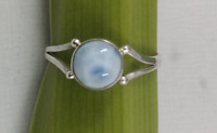 Natural Larimar Ring 925 Sterling Silver Larimar Rings Dominican Republic Stone