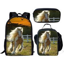 Horse Print Backpack School Bags Lunch Pencil Bag Set Shoulder Rucksack Satchel